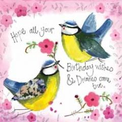 wenskaart alex clark - hope all your birthday wishes & dreams come true - vogels