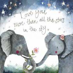 wenskaart alex clark - love you more than all the stars - olifanten