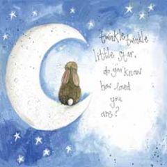 wenskaart alex clark - twinkle twinkle little star - maan met konijn