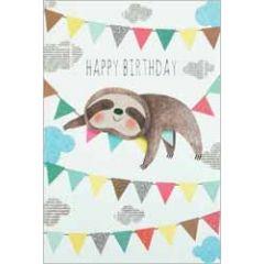 verjaardagskaart busquets - happy birthday - luiaard op slinger