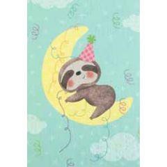 wenskaart busquets - happy birthday - luiaard op de maan