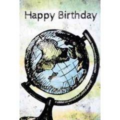 verjaardagskaart busquets - happy birthday - wereldbol globe