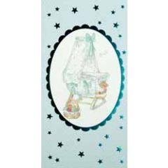 geboortekaartje en cadeau envelop - wiegje blauw