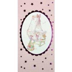 geboortekaartje en cadeau envelop - wiegje roze