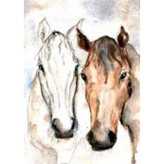 wenskaart cath ward - paarden