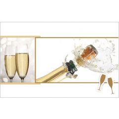 wenskaart - champagne glazen ontkurkt