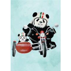 wenskaart coco de paris - panda's in zijspan