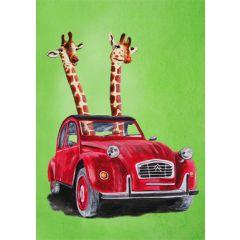 wenskaart coco de paris - twee giraffen in een auto