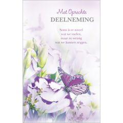 condoleancekaart - met oprechte deelneming - bloemen en paarse vlinder