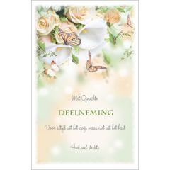 condoleancekaart - met oprechte deelneming - rozen en vlinders