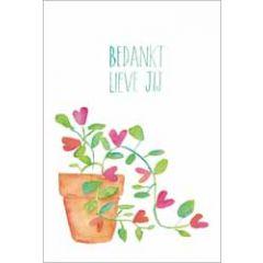 wenskaart dreams - bedankt lieve jij - bloemen