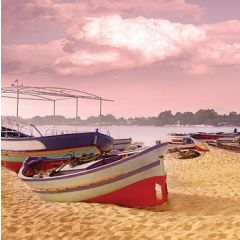 wenskaart second nature - boot op strand