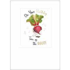 wenskaart ha-pea-days - on your birthday turn up the beet!