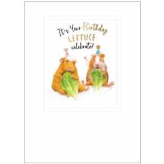 wenskaart ha-pea-days - it's your birthday lettuce celebrate!