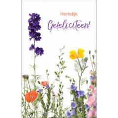 felicitatiekaart - hartelijk gefeliciteerd - veldbloemen