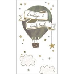 grote luxe afscheidskaart - goodbye & good luck - luchtballon