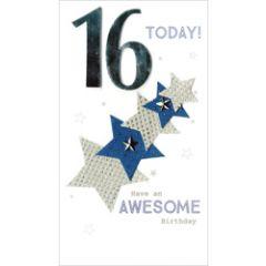 16 jaar - grote luxe verjaardagskaart - 16 today! have an awesome birthday - sterren