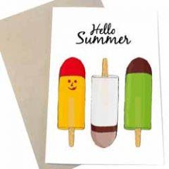 wenskaart mouse & pen - hello summer - ijsjes
