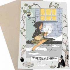 wenskaart mouse & pen - het meisje met de zwavelstokjes