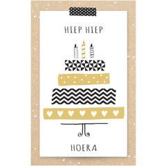 verjaardagskaart - hiep hiep hoera - verjaardagstaart