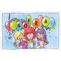 verjaardagskaart - hoera - ballonnen