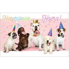 verjaardagskaart - hieperdepiep hoera! - honden