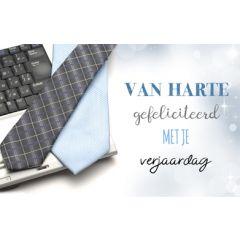 verjaardagskaart - van harte gefeliciteerd met je verjaardag - stropdas