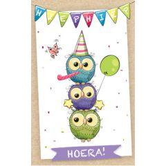 verjaardagskaart - hieperdepiep hoera - uilen