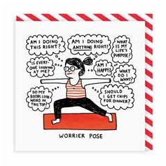 wenskaart ohh deer - worrier pose - yoga