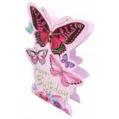 3d verjaardagskaart paper dazzle - happy birthday - vlinders