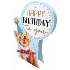 3d verjaardagskaart paper dazzle - happy birthday to you - kat