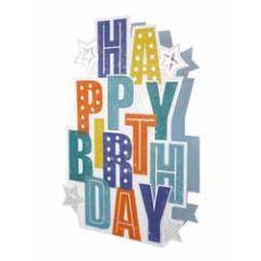 3d verjaardagskaart paper dazzle - happy birthday - letters