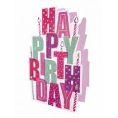 3d verjaardagskaart paper dazzle - happy birthday - letters roze