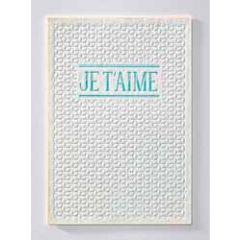 letterpress ansichtkaart met envelop - je t'aime