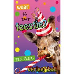 verjaardagskaart - waar is dat feestje - giraffe