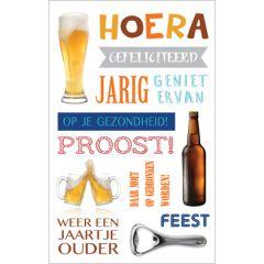 verjaardagskaart - op je gezondheid! proost - bier