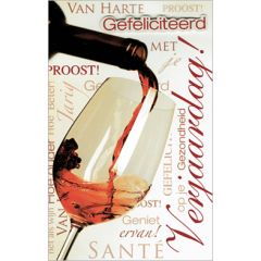verjaardagskaart - gefeliciteerd met je verjaardag - glas wijn