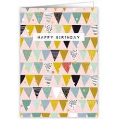 verjaardagskaart quire - happy birthday - vlaggetjes roze