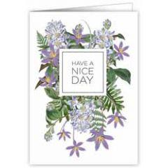 wenskaart quire - have a nice day - bloemen paars