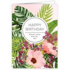 verjaardagskaart quire - happy birthday  enjoy your special day - bloemen roze