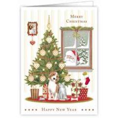 kerstkaart quire - merry christmas, happy new year - hond en kat bij kerstboom