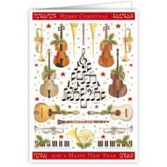 kerstkaart quire - merry christmas and a happy new year - muziekinstrumenten