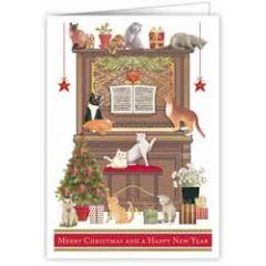 kerstkaart quire - merry christmas and a happy new year  katten op en bij piano