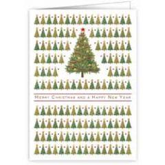 kerstkaart quire - merry christmas and a happy new year - bomen met sterren