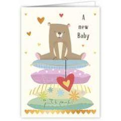 wenskaart quire - a new baby - beertje op kussens