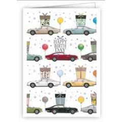 mini wenskaart quire - happy birthday - auto's