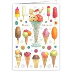 wenskaart quire - happy birthday - ijsjes