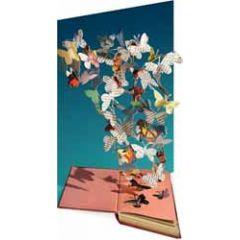 lasergesneden wenskaart roger la borde - boek en vlinders