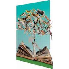 lasergesneden wenskaart roger la borde - boek en vogels in boom
