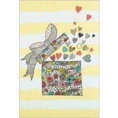 wenskaart busquets - cadeau met hartjes